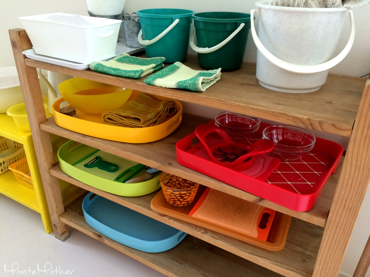Montessori practical life trays